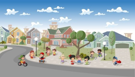 Cute happy cartoon kids playing in the street of a suburb